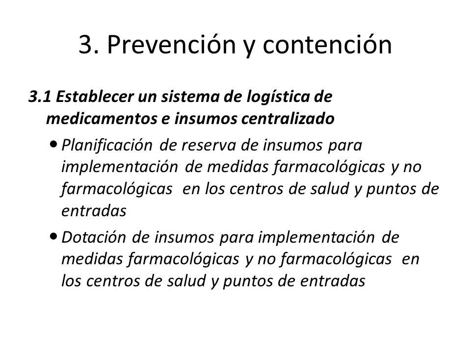 3. Prevención y contención 3.1 Establecer un sistema de logística de medicamentos e insumos centralizado Planificación de reserva de insumos para impl