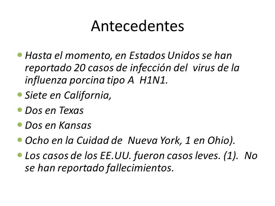 Antecedentes Hasta el momento, en Estados Unidos se han reportado 20 casos de infección del virus de la influenza porcina tipo A H1N1.