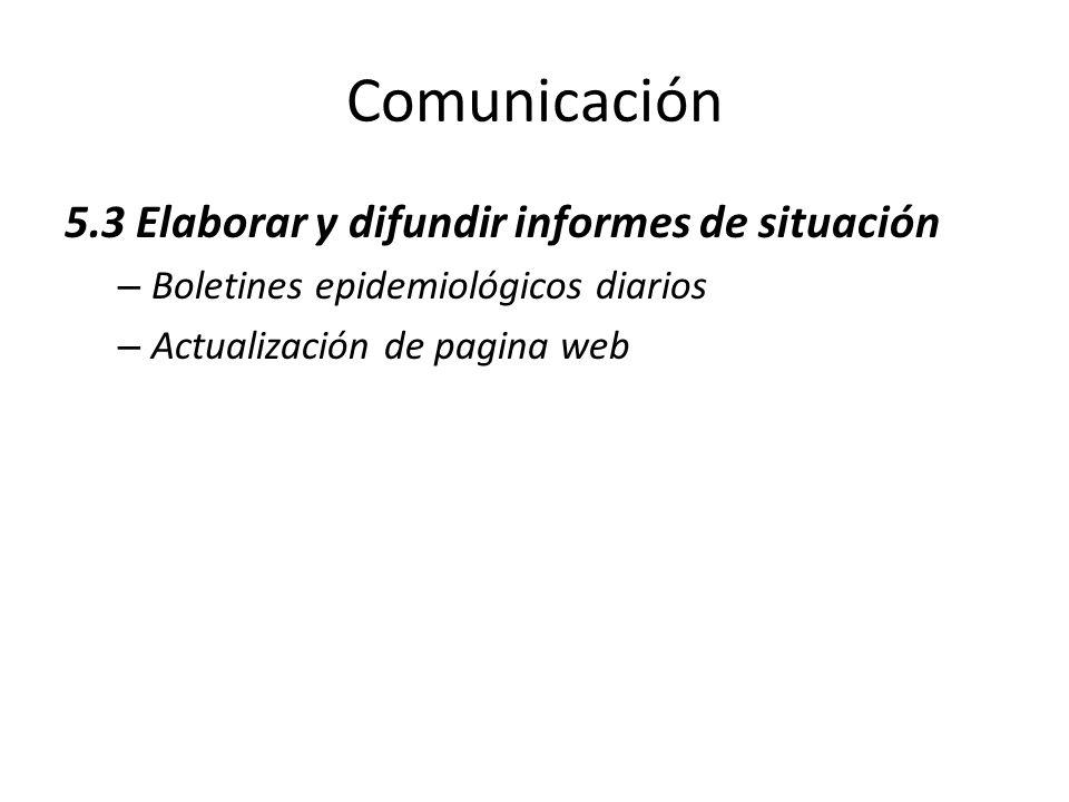 Comunicación 5.3 Elaborar y difundir informes de situación – Boletines epidemiológicos diarios – Actualización de pagina web