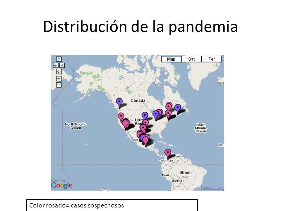 Distribución de la pandemia Color rosado= casos sospechosos Color morado= casos confirmados