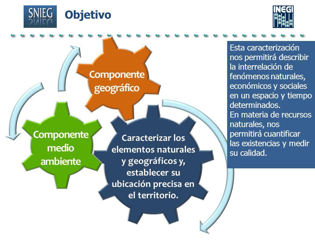 Objetivo Componente geográfico Componente medio ambiente Caracterizar los elementos naturales y geográficos y, establecer su ubicación precisa en el t