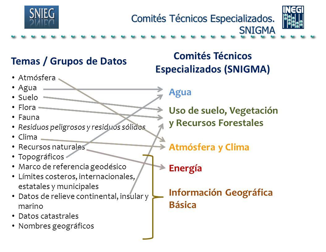 Comités Técnicos Especializados (SNIGMA) Temas / Grupos de Datos Atmósfera Agua Suelo Flora Fauna Residuos peligrosos y residuos sólidos Clima Recurso