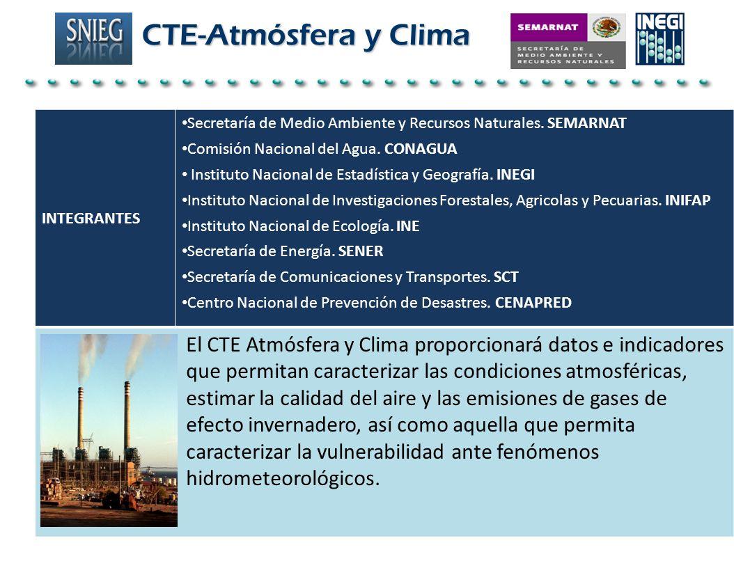 INTEGRANTES Secretaría de Medio Ambiente y Recursos Naturales. SEMARNAT Comisión Nacional del Agua. CONAGUA Instituto Nacional de Estadística y Geogra