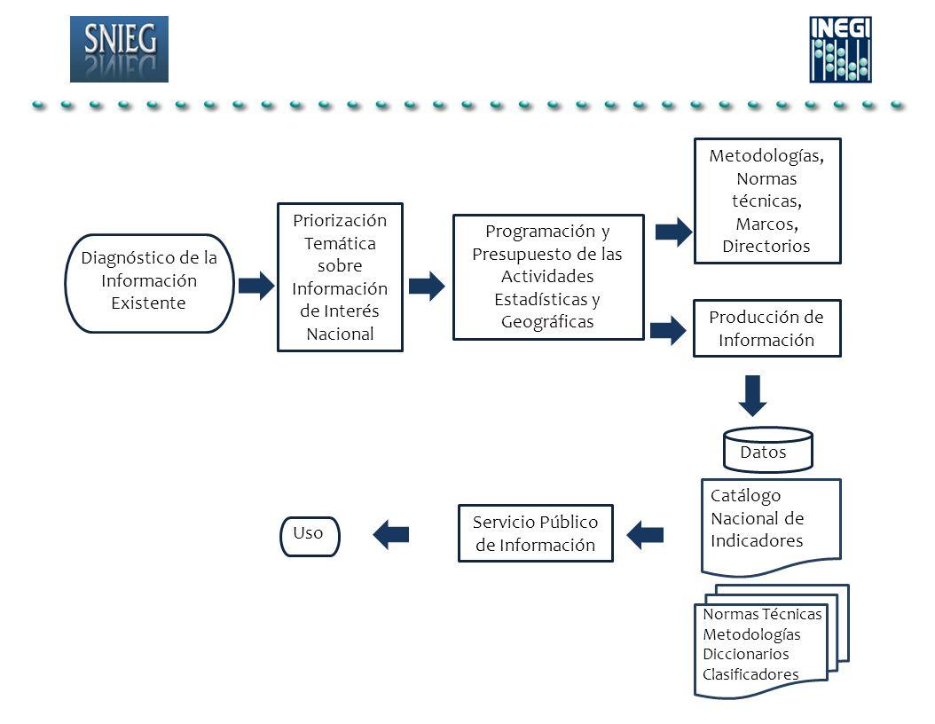 Programación y Presupuesto de las Actividades Estadísticas y Geográficas Diagnóstico de la Información Existente Datos Priorización Temática sobre Inf