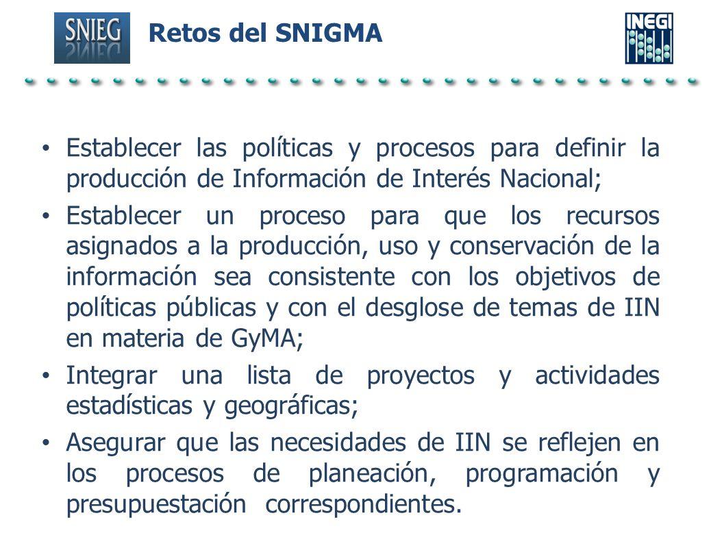 Retos del SNIGMA Establecer las políticas y procesos para definir la producción de Información de Interés Nacional; Establecer un proceso para que los