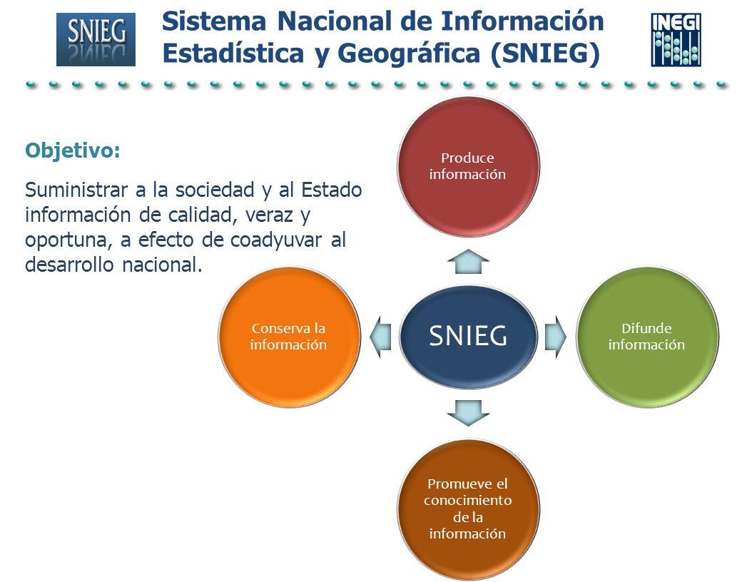 Sistema Nacional de Información Estadística y Geográfica (SNIEG) SNIEG Produce información Difunde información Promueve el conocimiento de la informac