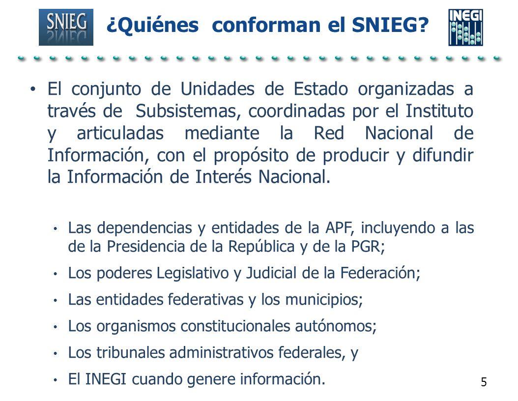 ¿Quiénes conforman el SNIEG? El conjunto de Unidades de Estado organizadas a través de Subsistemas, coordinadas por el Instituto y articuladas mediant