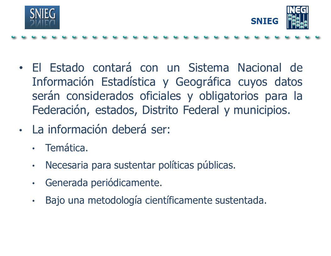 SNIEG El Estado contará con un Sistema Nacional de Información Estadística y Geográfica cuyos datos serán considerados oficiales y obligatorios para l