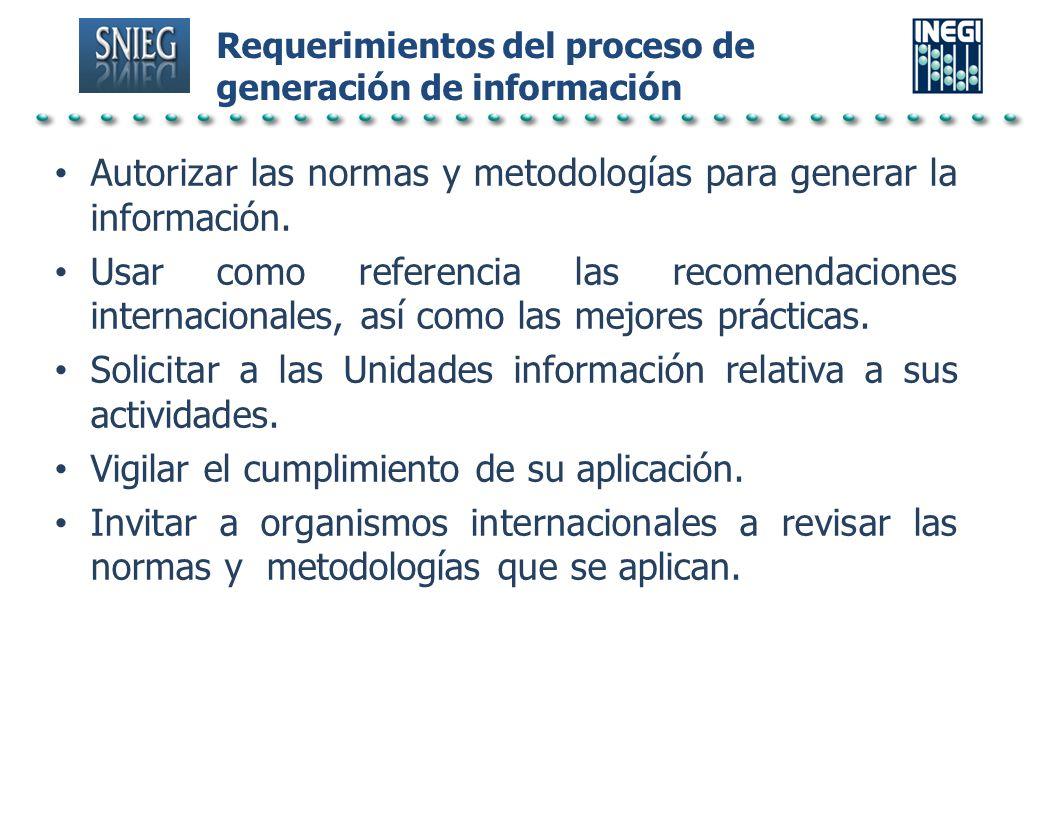 Requerimientos del proceso de generación de información Autorizar las normas y metodologías para generar la información. Usar como referencia las reco