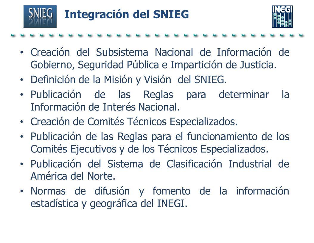 Integración del SNIEG Creación del Subsistema Nacional de Información de Gobierno, Seguridad Pública e Impartición de Justicia. Definición de la Misió