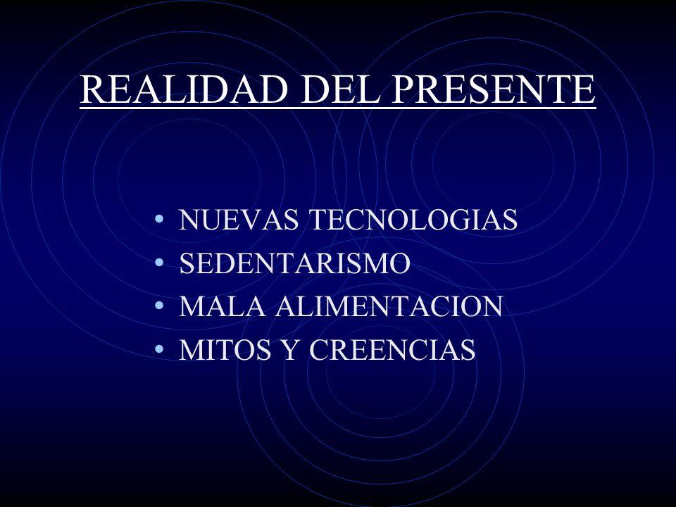 REALIDAD DEL PRESENTE NUEVAS TECNOLOGIAS SEDENTARISMO MALA ALIMENTACION MITOS Y CREENCIAS