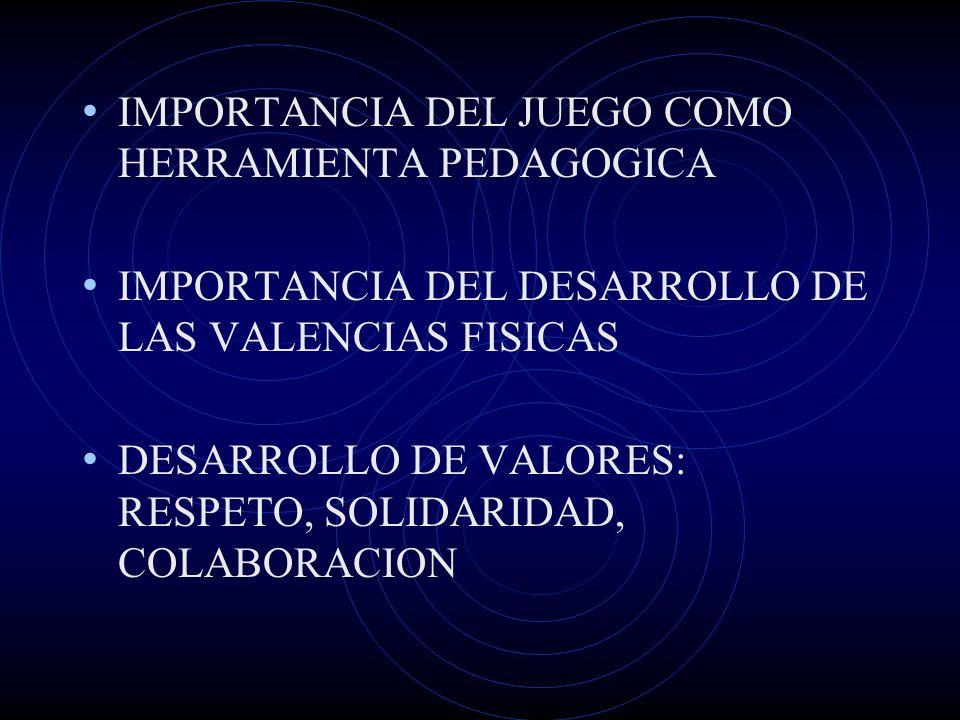 IMPORTANCIA DEL JUEGO COMO HERRAMIENTA PEDAGOGICA IMPORTANCIA DEL DESARROLLO DE LAS VALENCIAS FISICAS DESARROLLO DE VALORES: RESPETO, SOLIDARIDAD, COL