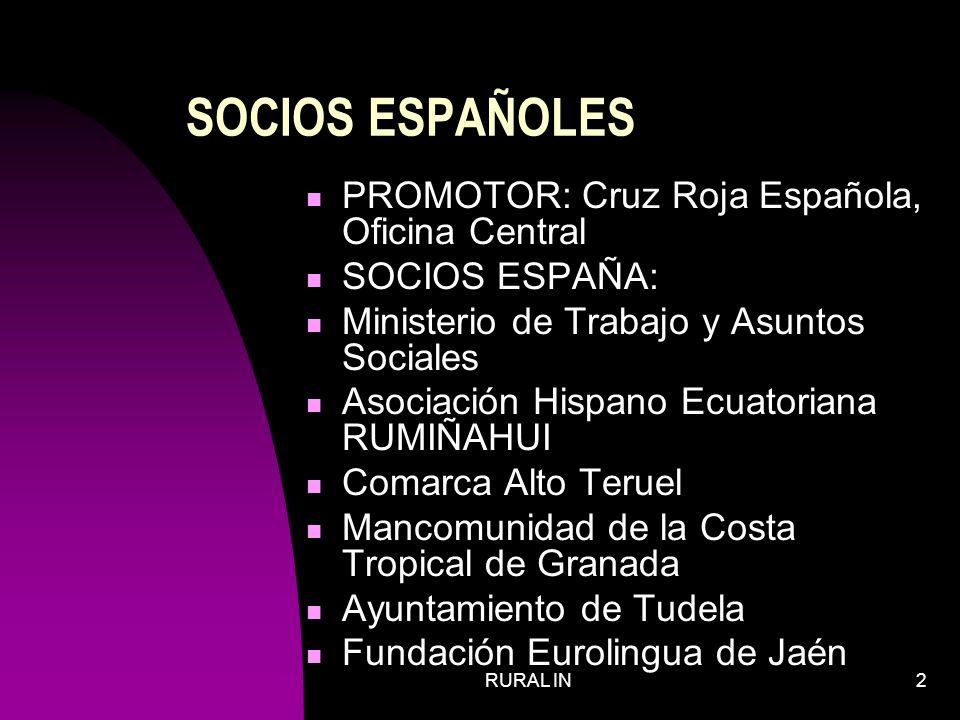 RURAL IN13 IMPORTANCIA PARA CRUZ ROJA ESPAÑOLA Cruz Roja es la organización social española que más trabaja en el campo de la inmigración, desde la acogida en las playas hasta la inserción laboral.