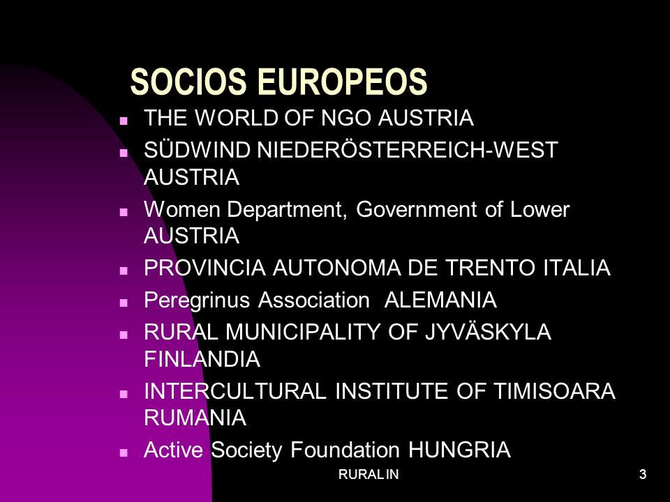 RURAL IN3 SOCIOS EUROPEOS THE WORLD OF NGO AUSTRIA SÜDWIND NIEDERÖSTERREICH-WEST AUSTRIA Women Department, Government of Lower AUSTRIA PROVINCIA AUTONOMA DE TRENTO ITALIA Peregrinus Association ALEMANIA RURAL MUNICIPALITY OF JYVÄSKYLA FINLANDIA INTERCULTURAL INSTITUTE OF TIMISOARA RUMANIA Active Society Foundation HUNGRIA