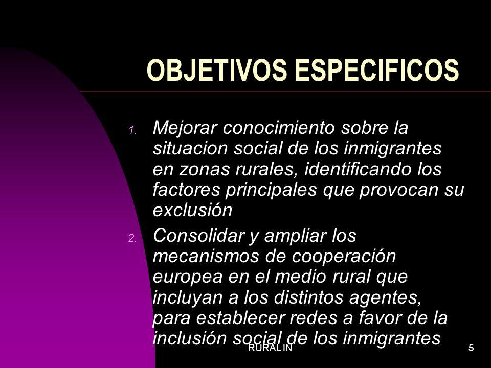RURAL IN5 OBJETIVOS ESPECIFICOS 1.