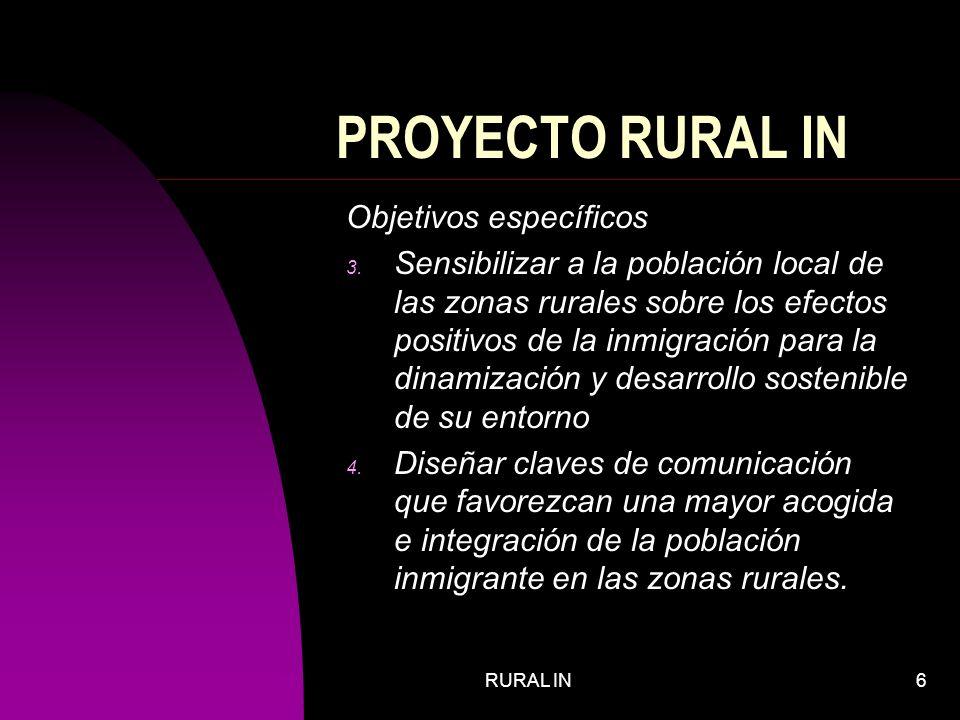 RURAL IN6 PROYECTO RURAL IN Objetivos específicos 3.