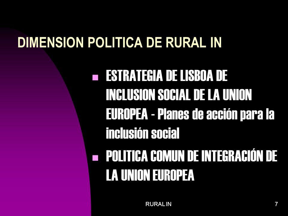 RURAL IN7 DIMENSION POLITICA DE RURAL IN ESTRATEGIA DE LISBOA DE INCLUSION SOCIAL DE LA UNION EUROPEA - Planes de acción para la inclusión social POLITICA COMUN DE INTEGRACIÓN DE LA UNION EUROPEA