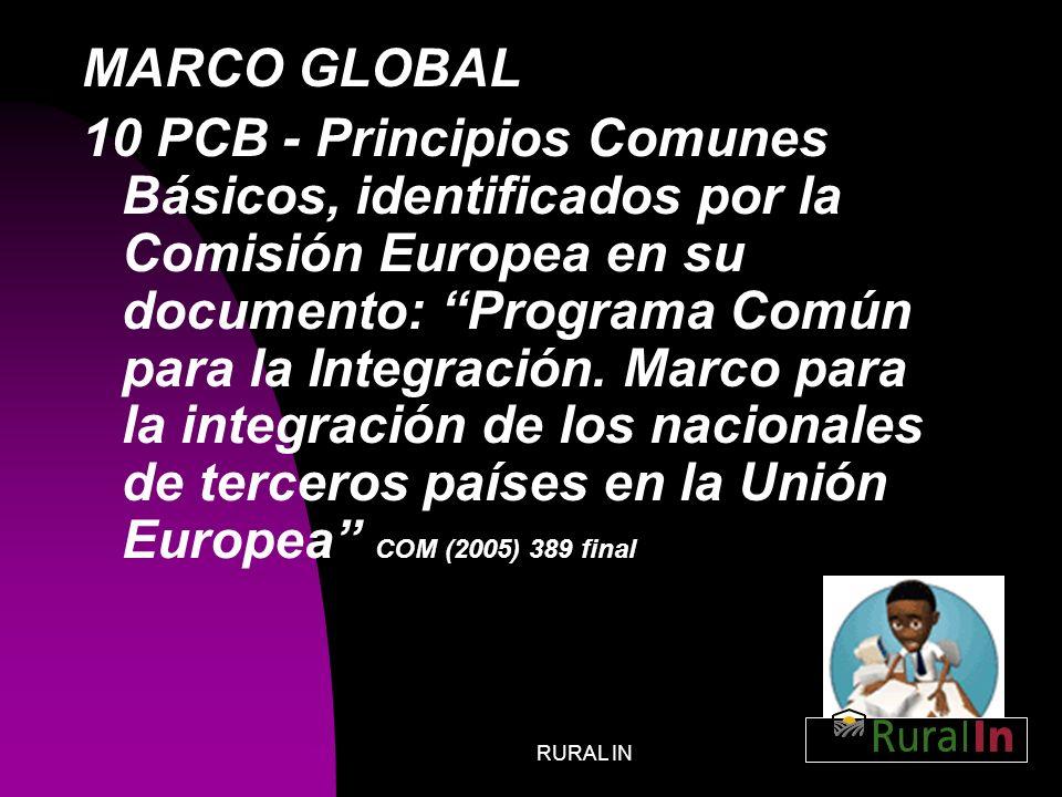 RURAL IN8 MARCO GLOBAL 10 PCB - Principios Comunes Básicos, identificados por la Comisión Europea en su documento: Programa Común para la Integración.