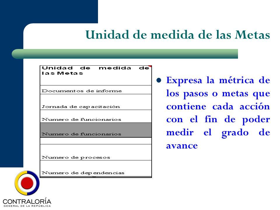 Unidad de medida de las Metas Expresa la métrica de los pasos o metas que contiene cada acción con el fin de poder medir el grado de avance