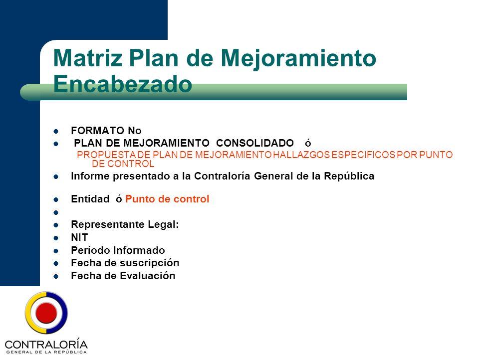 Matriz Plan de Mejoramiento Encabezado FORMATO No PLAN DE MEJORAMIENTO CONSOLIDADO ó PROPUESTA DE PLAN DE MEJORAMIENTO HALLAZGOS ESPECIFICOS POR PUNTO