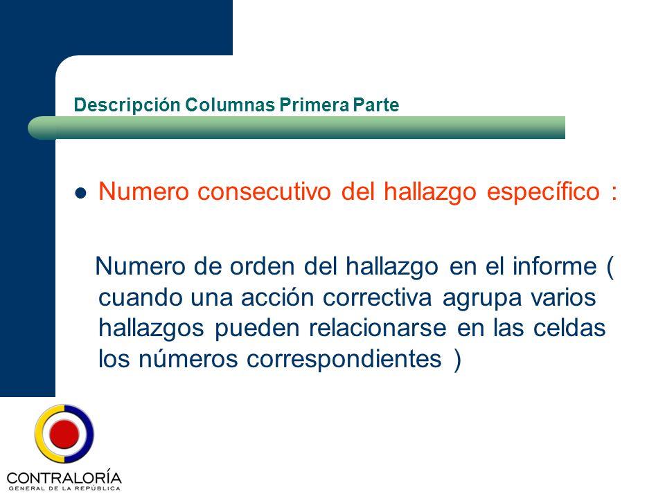 Descripción Columnas Primera Parte Numero consecutivo del hallazgo específico : Numero de orden del hallazgo en el informe ( cuando una acción correct