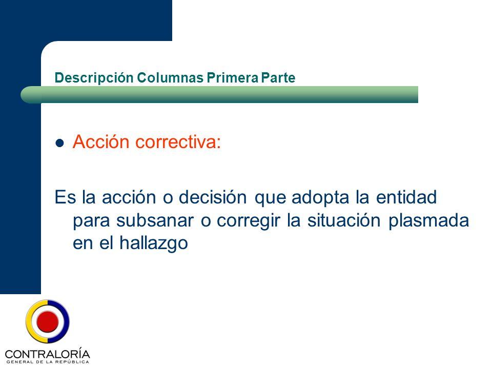 Descripción Columnas Primera Parte Acción correctiva: Es la acción o decisión que adopta la entidad para subsanar o corregir la situación plasmada en