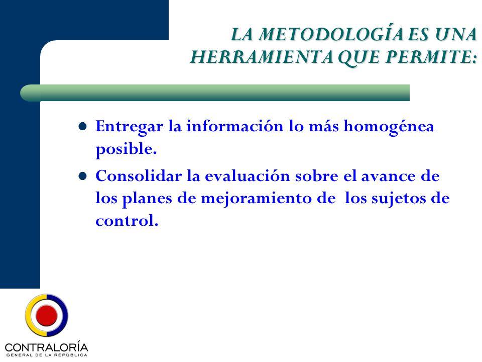 LA METODOLOGÍA ES UNA HERRAMIENTA QUE PERMITE: LA METODOLOGÍA ES UNA HERRAMIENTA QUE PERMITE: Entregar la información lo más homogénea posible. Consol