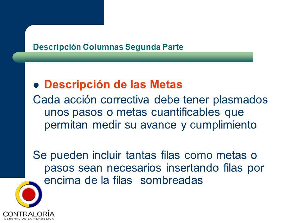 Descripción Columnas Segunda Parte Descripción de las Metas Cada acción correctiva debe tener plasmados unos pasos o metas cuantificables que permitan