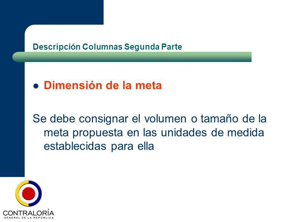 Descripción Columnas Segunda Parte Dimensión de la meta Se debe consignar el volumen o tamaño de la meta propuesta en las unidades de medida estableci