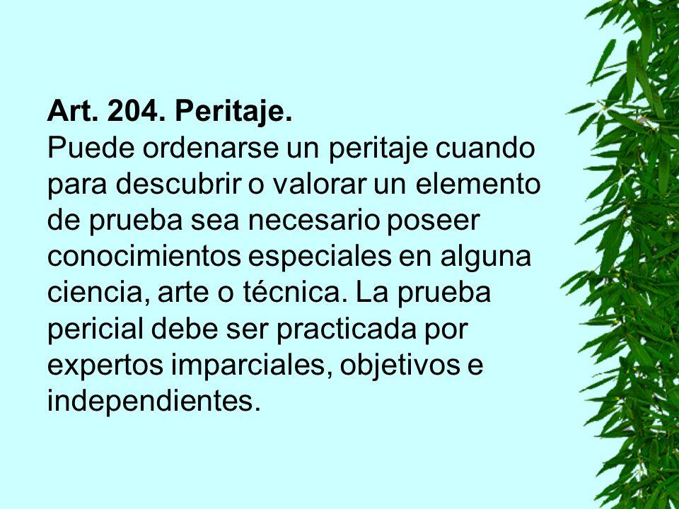 Art. 204. Peritaje.