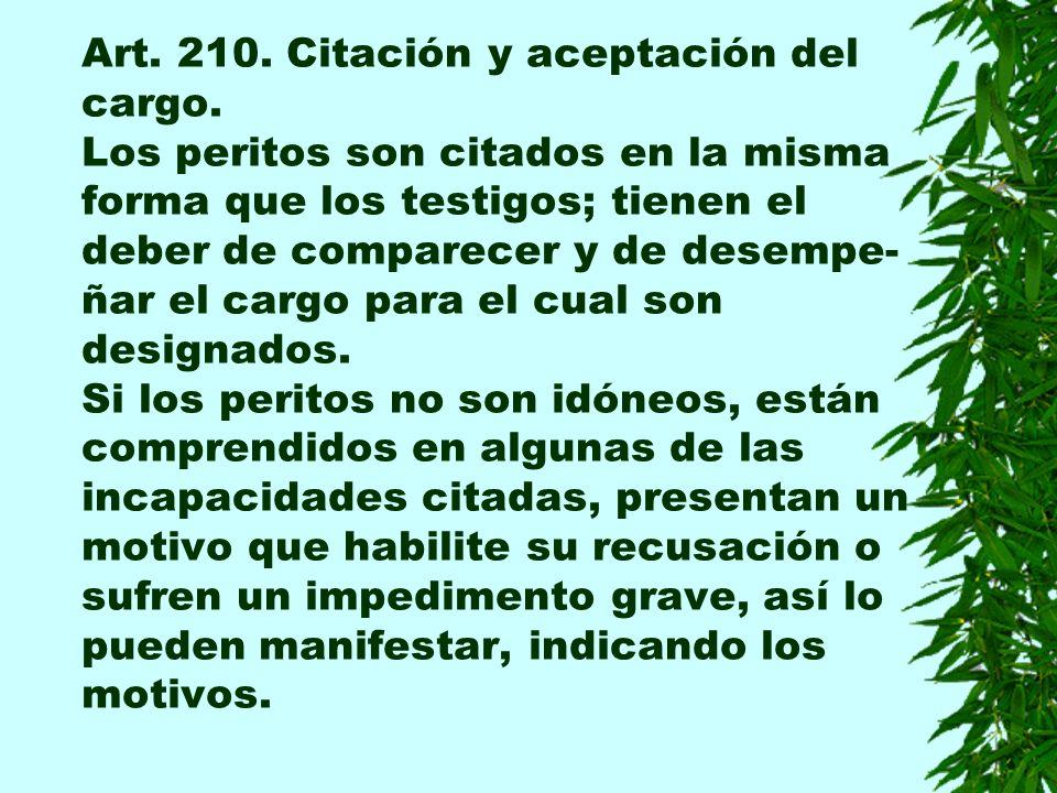 Art. 210. Citación y aceptación del cargo.