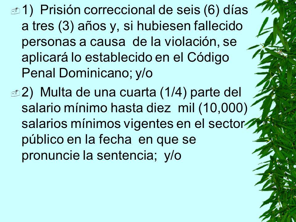 1)Prisión correccional de seis (6) días a tres (3) años y, si hubiesen fallecido personas a causa de la violación, se aplicará lo establecido en el Código Penal Dominicano; y/o 2)Multa de una cuarta (1/4) parte del salario mínimo hasta diez mil (10,000) salarios mínimos vigentes en el sector público en la fecha en que se pronuncie la sentencia; y/o