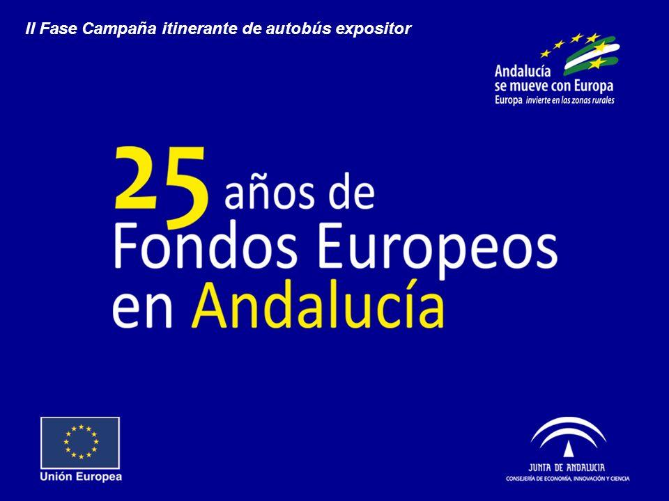 Objetivo Informar a la población de los entornos rurales de Andalucía sobre las actuaciones y resultados de las intervenciones cofinanciadas por los Fondos Europeos en la Comunidad Autónoma Andaluza y su directa relación en la mejora de la calidad de vida, a través de una descripción muy sencilla, didáctica y tangible (ejemplos cercanos) de su entorno más cercano.