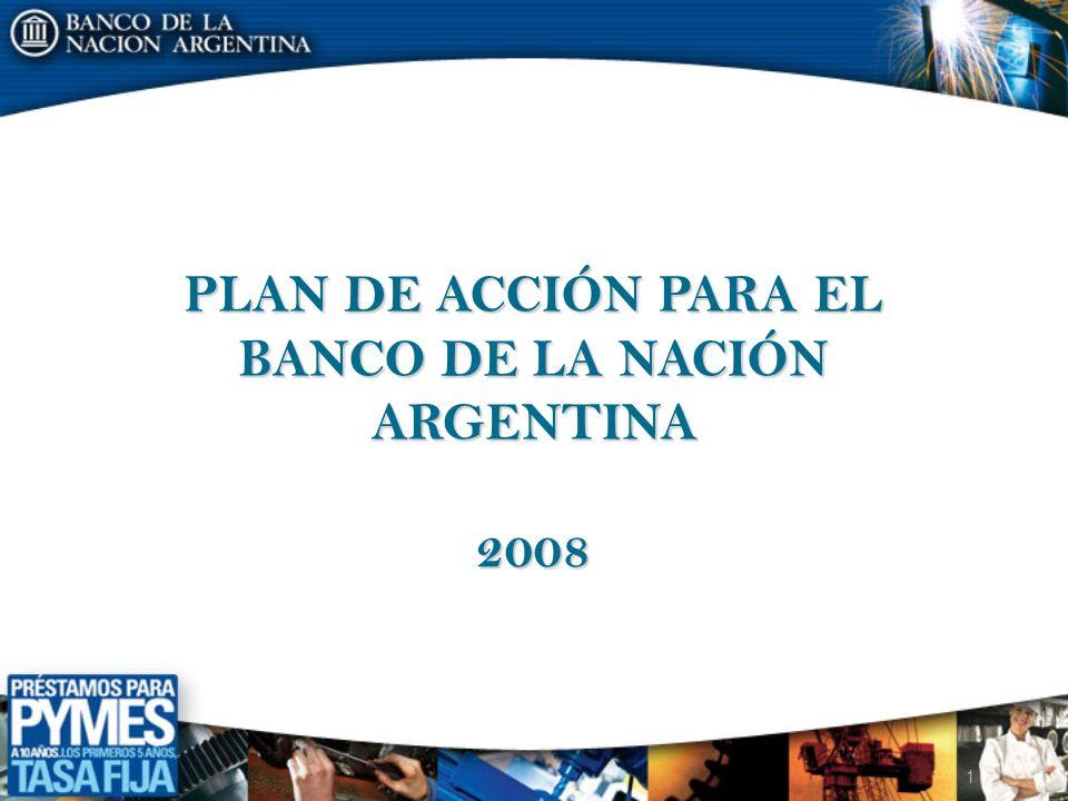 LA MISIÓN DEL BANCO DE LA NACIÓN ARGENTINA EN LA PRESENTE FASE DE LA POL Í TICA ECONÓMICA El Banco de la Nación Argentina como parte de un nuevo proyecto de país que tiene como prioridades afianzar el desarrollo económico y mejorar en forma continua la distribución del ingreso, fortalecerá, en esta etapa, su acción de : impulsar el financiamiento de los sectores productivos, la bancarización de la población y las pequeñas y medianas empresas (pymes), la asistencia financiera a los sectores sociales comprendidos en los planes del gobierno nacional Esta acción se torna prioritaria para asegurar a las pequeñas y medianas empresas un adecuado financiamiento a sus proyectos de inversión.