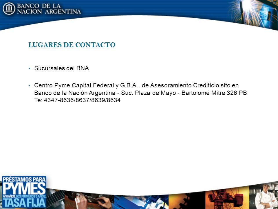 LUGARES DE CONTACTO Sucursales del BNA Centro Pyme Capital Federal y G.B.A., de Asesoramiento Crediticio sito en Banco de la Nación Argentina - Suc. P