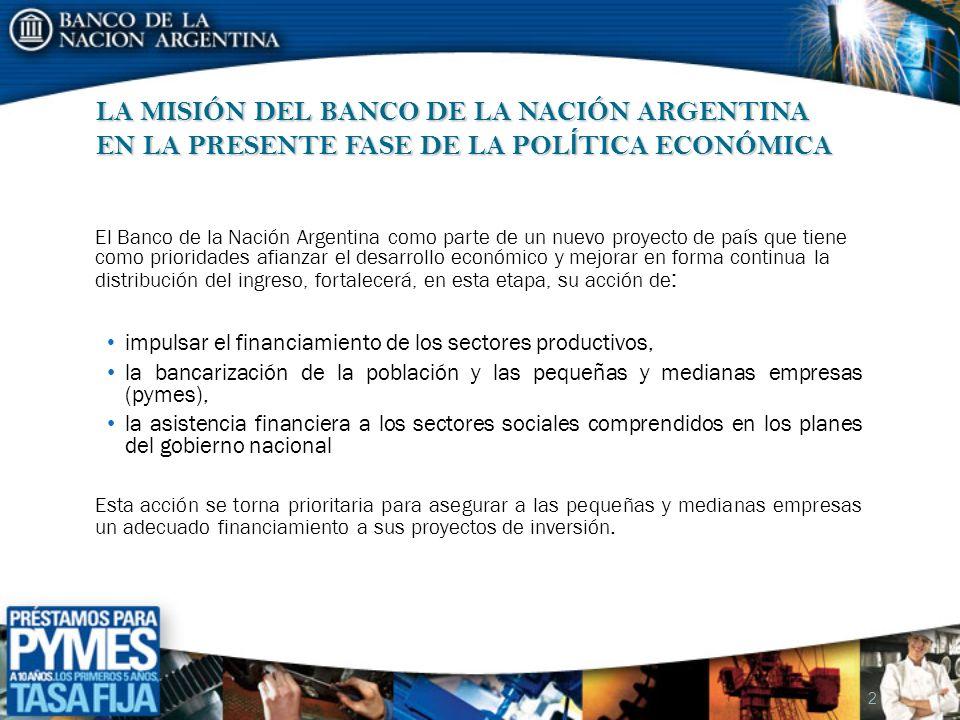 LAS PRIORIDADES DEL BANCO DE LA NACIÓN ARGENTINA 2008 El Banco de la Nación Argentina ha diseñado una estrategia destinada a generar un volumen importante de crédito de inversión en el mercado bancario por medio de una operatoria destinada a todos los sectores de las pequeñas y medianas empresas (pymes) de la economía.