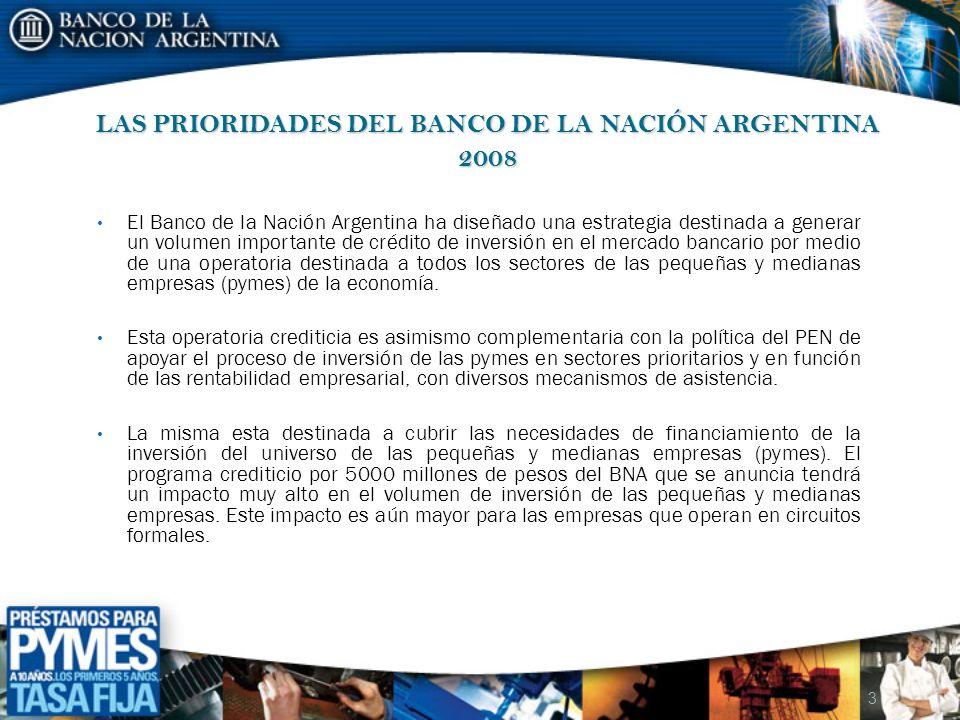 LAS PRIORIDADES DEL BANCO DE LA NACIÓN ARGENTINA 2008 El Banco de la Nación Argentina ha diseñado una estrategia destinada a generar un volumen import