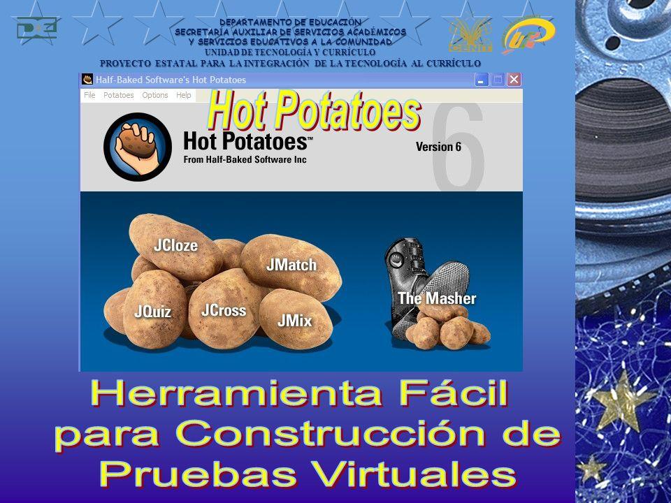 Hot Potatoes es un conjunto de seis herramientas para elaborar contenidos digitales.