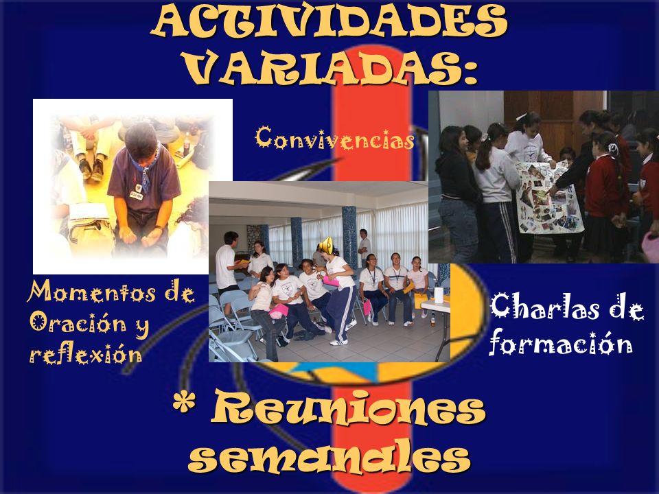 ACTIVIDADES VARIADAS: * Reuniones semanales Momentos de Oración y reflexión Convivencias Charlas de formación