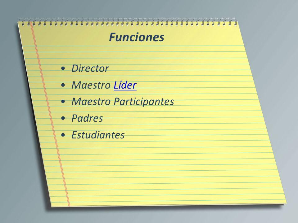 Funciones Director Maestro LíderLíder Maestro Participantes Padres Estudiantes
