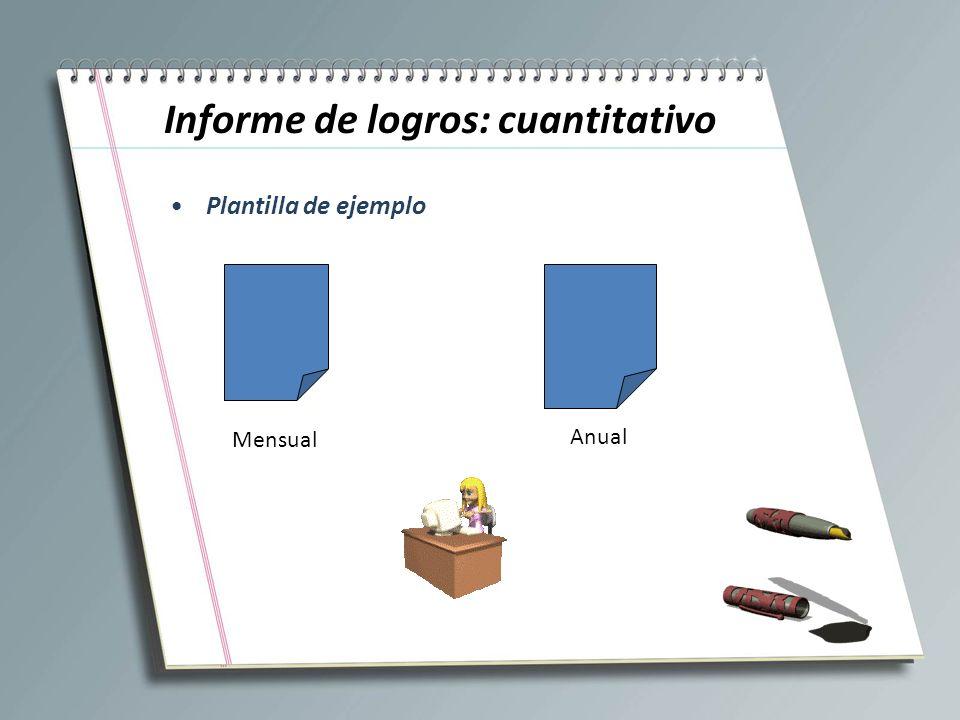 Informe de logros: cuantitativo Plantilla de ejemplo Mensual Anual