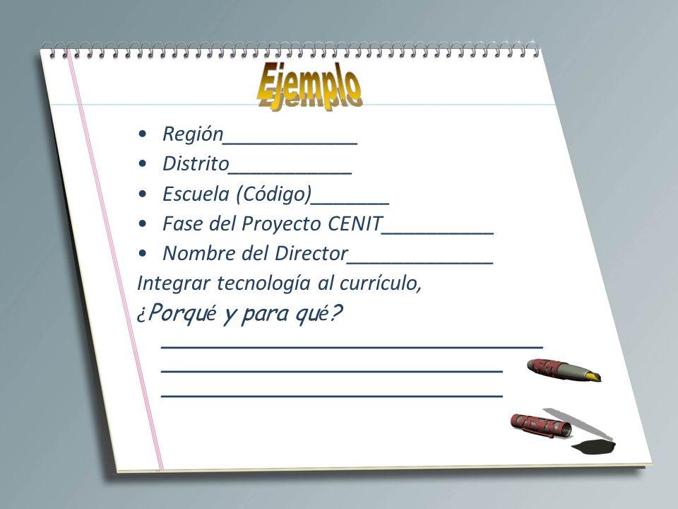 Región____________ Distrito___________ Escuela (Código)_______ Fase del Proyecto CENIT__________ Nombre del Director_____________ Integrar tecnología