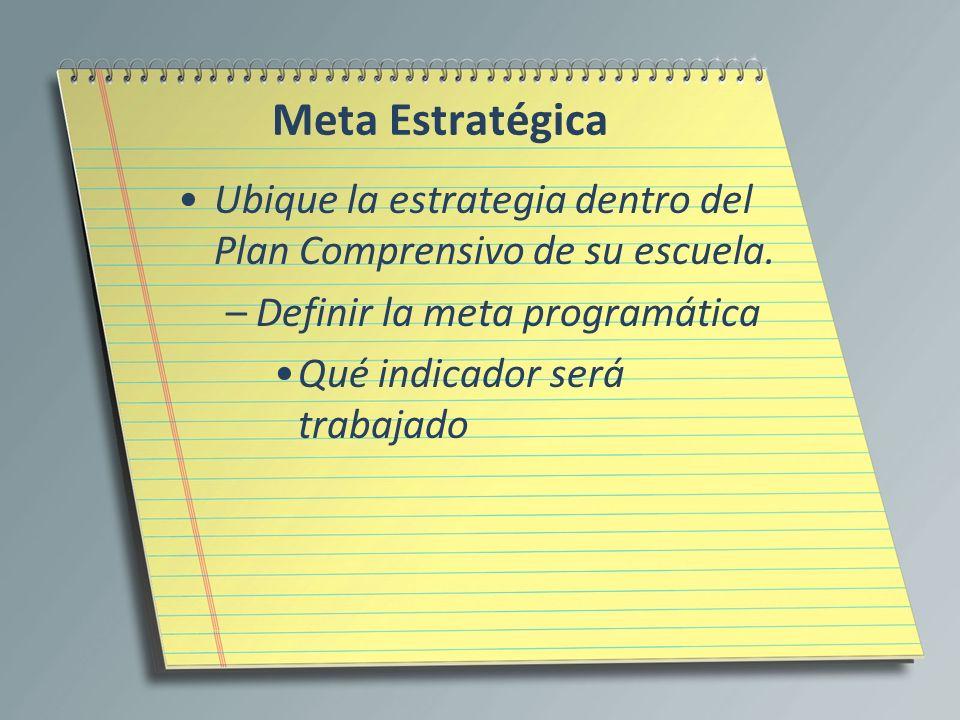 Meta Estratégica Ubique la estrategia dentro del Plan Comprensivo de su escuela. –Definir la meta programática Qué indicador será trabajado