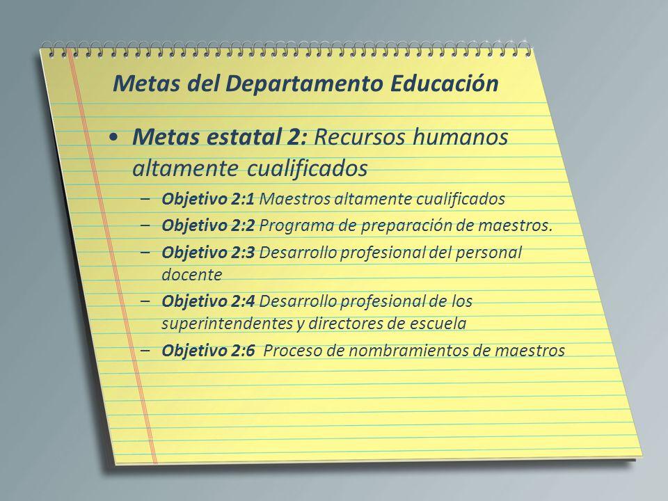 Metas del Departamento Educación Metas estatal 2: Recursos humanos altamente cualificados –Objetivo 2:1 Maestros altamente cualificados –Objetivo 2:2