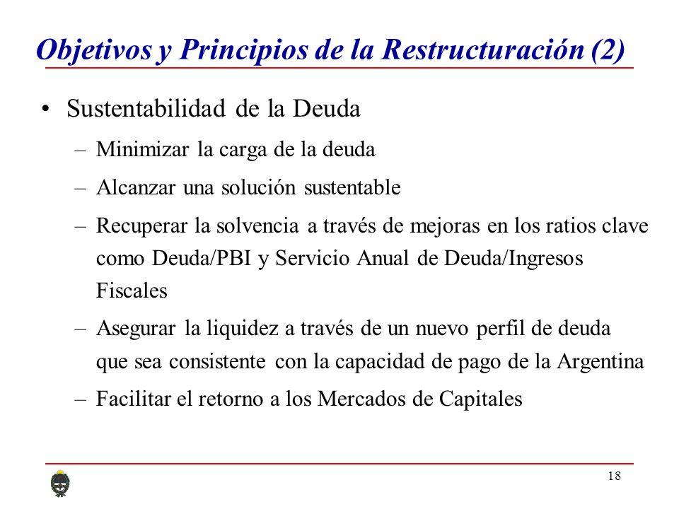 18 Objetivos y Principios de la Restructuración (2) Sustentabilidad de la Deuda –Minimizar la carga de la deuda –Alcanzar una solución sustentable –Recuperar la solvencia a través de mejoras en los ratios clave como Deuda/PBI y Servicio Anual de Deuda/Ingresos Fiscales –Asegurar la liquidez a través de un nuevo perfil de deuda que sea consistente con la capacidad de pago de la Argentina –Facilitar el retorno a los Mercados de Capitales