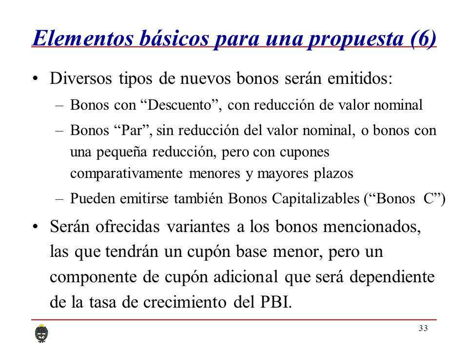 33 Diversos tipos de nuevos bonos serán emitidos: –Bonos con Descuento, con reducción de valor nominal –Bonos Par, sin reducción del valor nominal, o