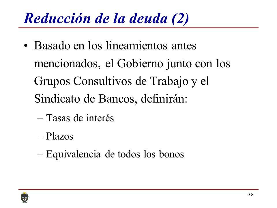 38 Reducción de la deuda (2) Basado en los lineamientos antes mencionados, el Gobierno junto con los Grupos Consultivos de Trabajo y el Sindicato de Bancos, definirán: –Tasas de interés –Plazos –Equivalencia de todos los bonos