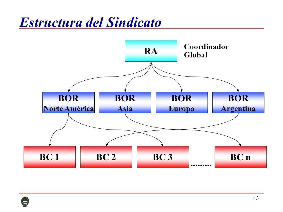 43 Estructura del Sindicato BC 2BC 1BC 3BC n......... RA Coordinador Global BOR Argentina BOR Asia BOR Norte América BOR Europa