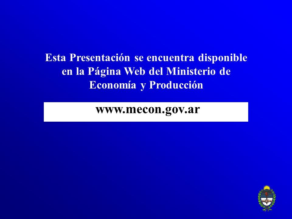 www.mecon.gov.ar Esta Presentación se encuentra disponible en la Página Web del Ministerio de Economía y Producción