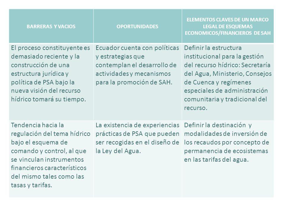 BARRERAS Y VACIOSOPORTUNIDADES ELEMENTOS CLAVES DE UN MARCO LEGAL DE ESQUEMAS ECONOMICOS/FINANCIEROS DE SAH El proceso constituyente es demasiado reci